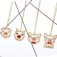FAIRYWOO Cute Piggy Necklace Women Pig Pendant Necklace Delica Miyuki Jewelry Handmade Bead Accessories Animals Collares Choker(China)