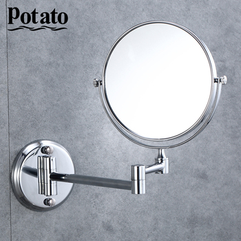 Potato Wall Mirror Extend Double Side Makeup Mirror Rotatalbe 7 3X Magnifying Bathroom Mirror p760-6 bath mirror led cosmetic mirror 1x 3x magnification wall mounted adjustable makeup mirror dual arm extend 2 face bathroom mirror