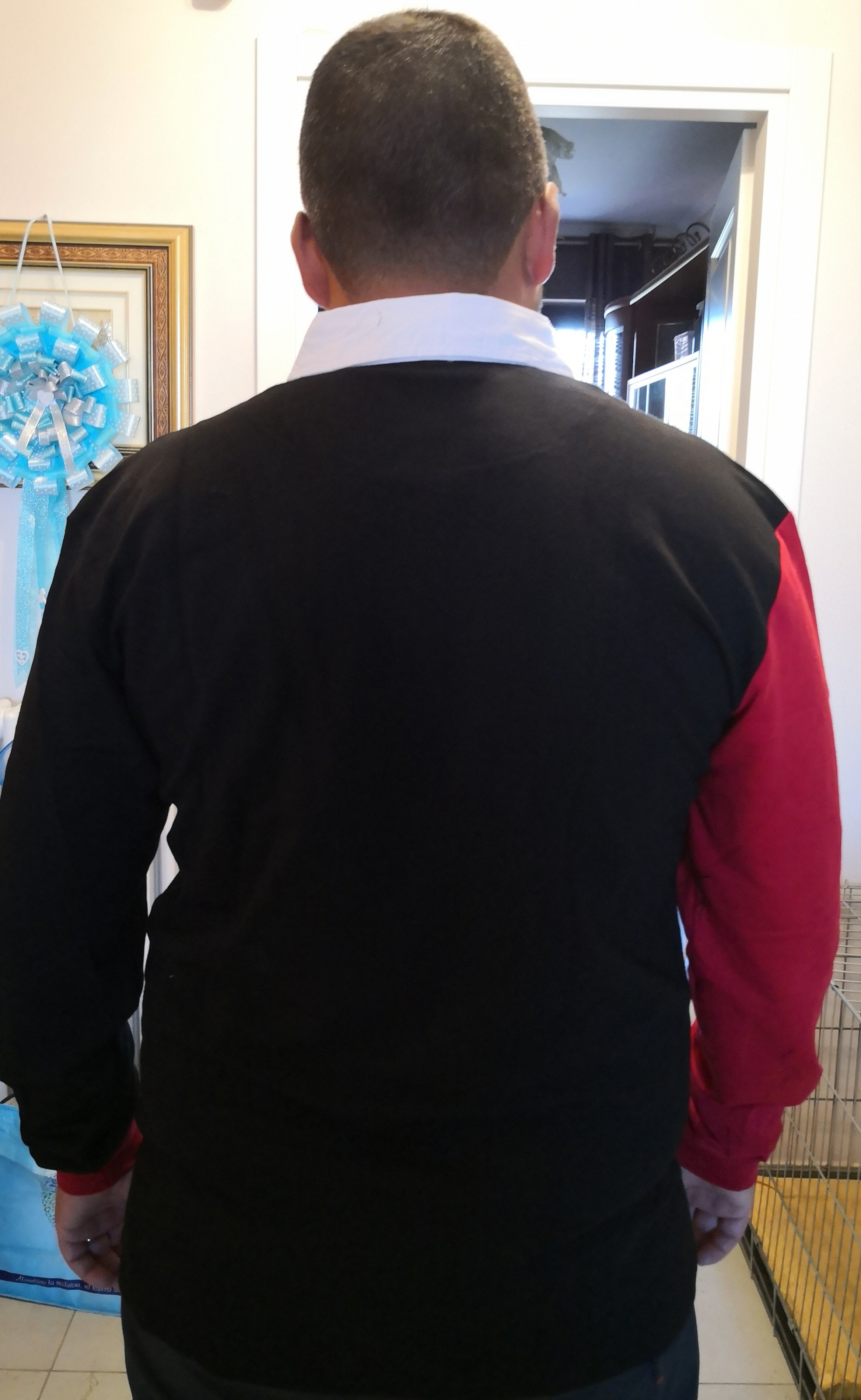 Fredd Marshall Long Sleeve Patchwork Polo Shirt photo review