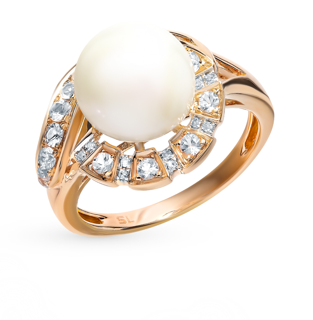 Gold Ring With Sapphires, Pearls And Diamonds Sunlight Sample 585