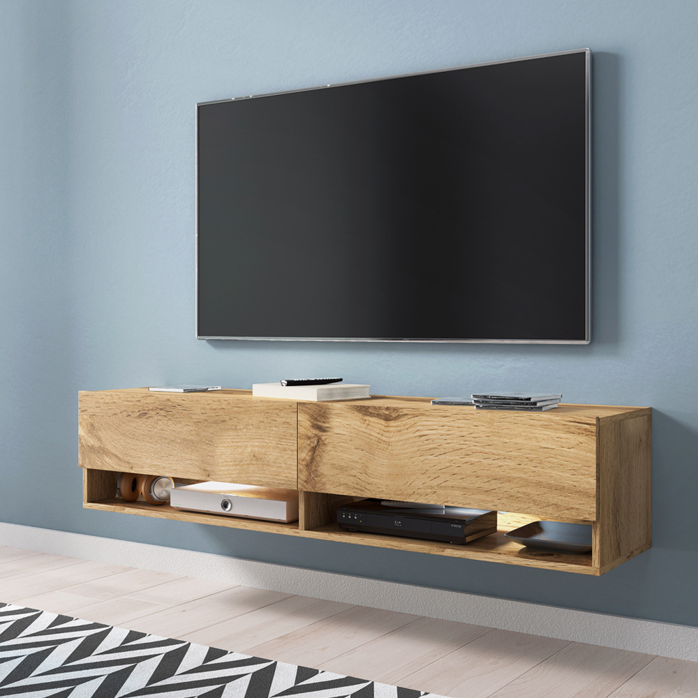 Selsey WANDER -  meuble TV moderne (140 cm/chêne wotan, avec LED)