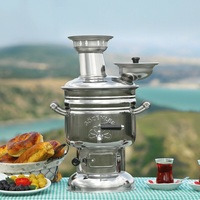 STAINLESS STEEL SAMOVAR WOOD BURNING COAL STOVE CAMPING GARDENS WATER HEATER BREWING TEA KETTLE 4L