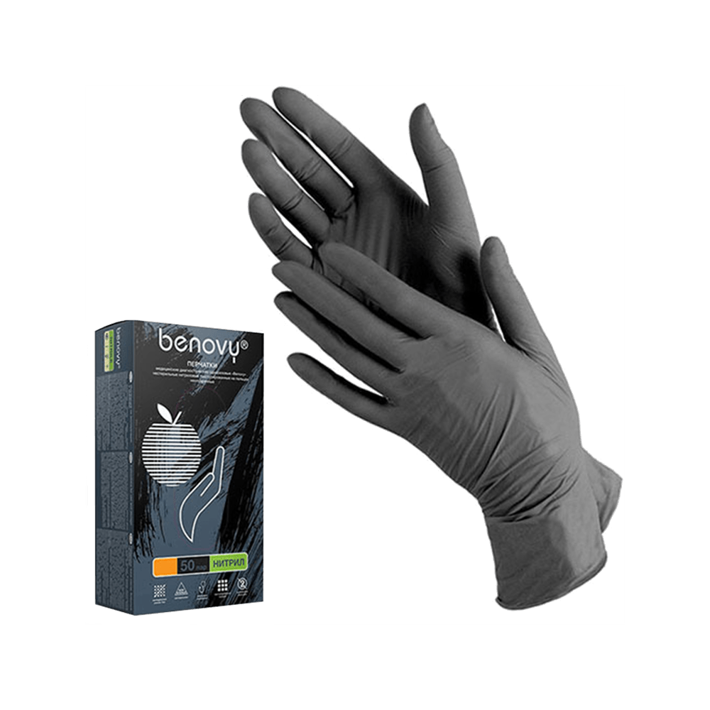 Benovy, Gloves Nitrile, Powder Free, Purple, Black, Pink, Blue, Green 50 Pairs