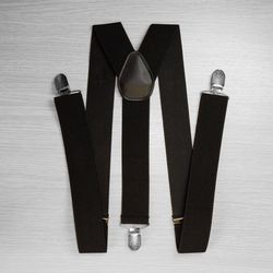 Suspenders for trousers wide (3.5 cm, 3 clips, black) 50828