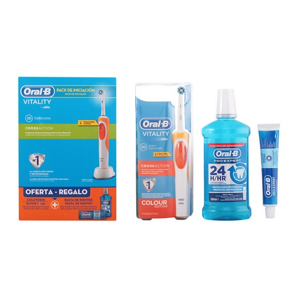 Toothbrush, Toothpaste and Mouthwash Set Vitality Crossaction Oral-B (3 pcs) image