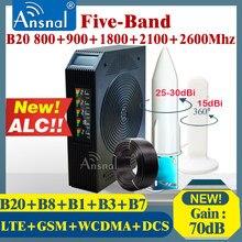 Quente!! cinco-band celular booster b20 800 900 1800 2100 2600mhz 4g celular amplificador gsm 2g3g4g repetidor de sinal de rede gsm lte