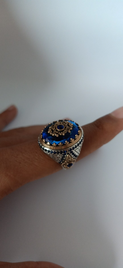 Chevalière Homme Pierre s Zircon bleu Turquoise en argent massif