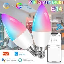 E14 led wi fi inteligente lâmpada rgb + w + c 5w wifi pode ser escurecido bulbo AC100-260V app e controle de voz compatível com alexa google casa