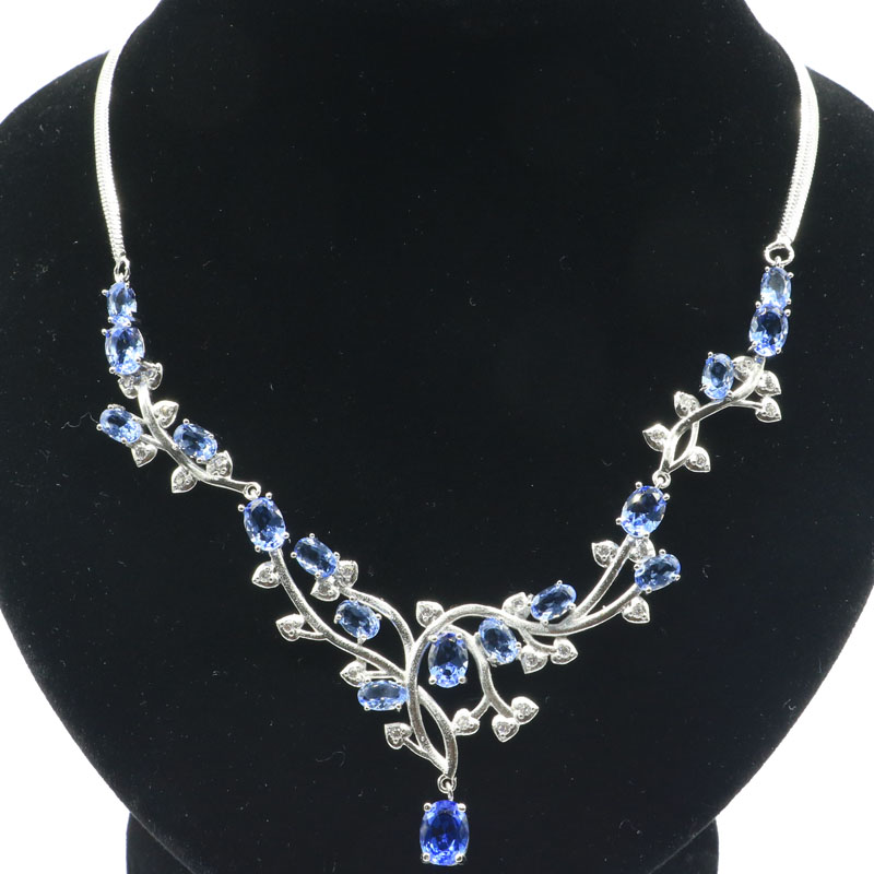 55x38mm 2019 New Arrival 20g Created Violet Tanzanite CZ Gift For Woman's Jewelry Making Silver Necklace Length 18.5-19inch