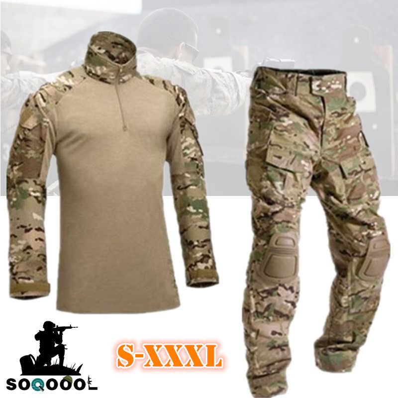 Tactische Camouflage Militair Uniform Kleding Heren Leger Airsoft paintball training Kleding Combat Shirt of Cargo Pants Knee Pads
