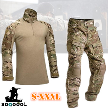 Tactical Camouflage Military Uniform Clothes Men Army Airsoft paintball training Clothing Combat Shirt or Cargo Pants Knee Pads
