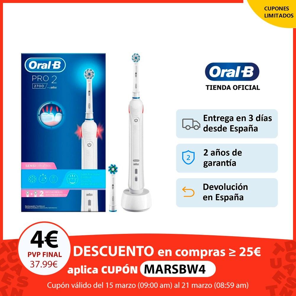 Oral B Pro 2 2700, Cepillo de dientes eléctrico recargable, 2 modos cepillado, temporizador, limpieza 3D, hasta 14 días, sensor Cepillos de dientes eléctricos  - AliExpress