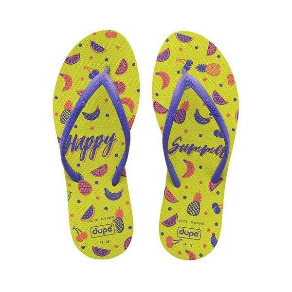 Women's Flip Flops Happy Summer Dupé Joy Yellow