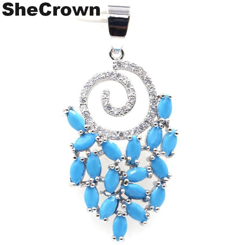 40x18mm 2019 New Arrival Blue Turquoise Natural Cubic Zirconia Gift For Girls Silver Pendant
