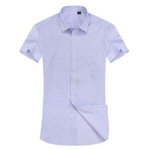 Image 4 - Camisa social masculina de manga curta, alta qualidade, não ferro, branco, azul, casual, social, tamanho grande 6xl 7xl 8xl
