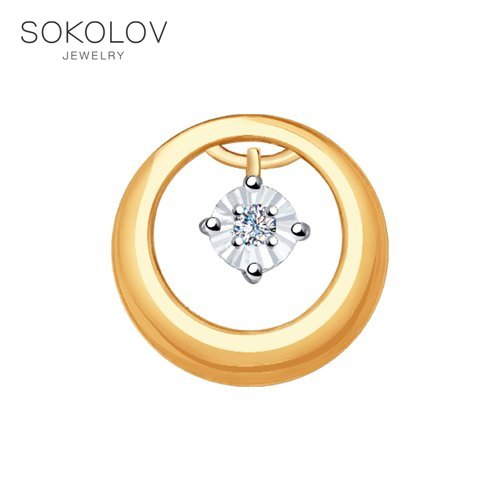 Pendant SOKOLOV Mixed Gold With Diamond Pattern Diamond Fashion Jewelry 585 Women's/men's, Male/female Women's Male