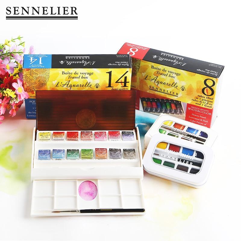 Frence Original Sennelier Solid Watercolor Paint 12 /24 Color Honey Watercolour Acuarelas Art Supplies