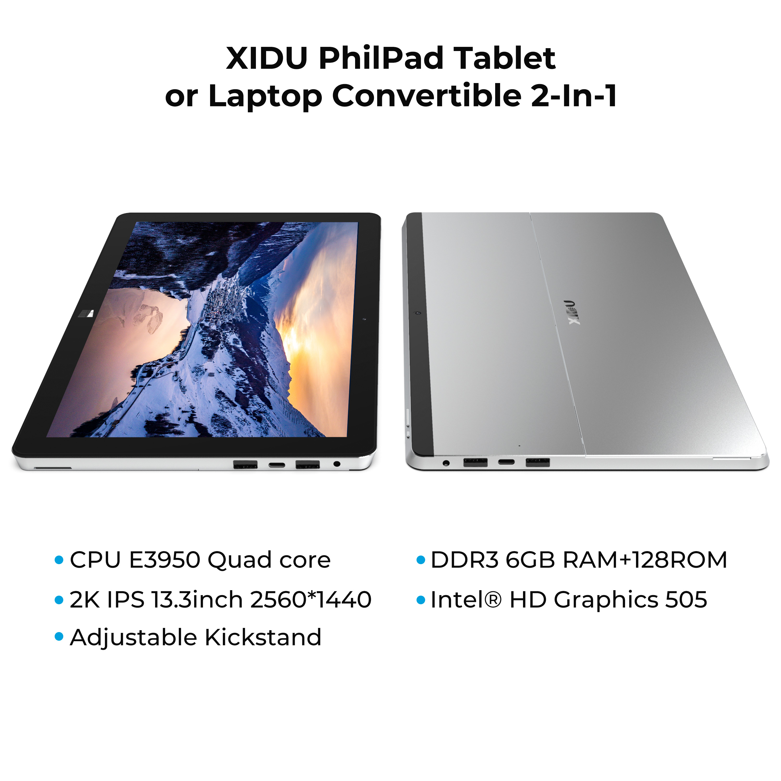 """Image 3 - XIDU Laptop PhilPad 13.3"""" Computer 2 in 1 tablet Touchscreen Ultra Notebook Window 10 Tablet PC Quad Core Laptop Computer MiniPc-in Laptops from Computer & Office"""