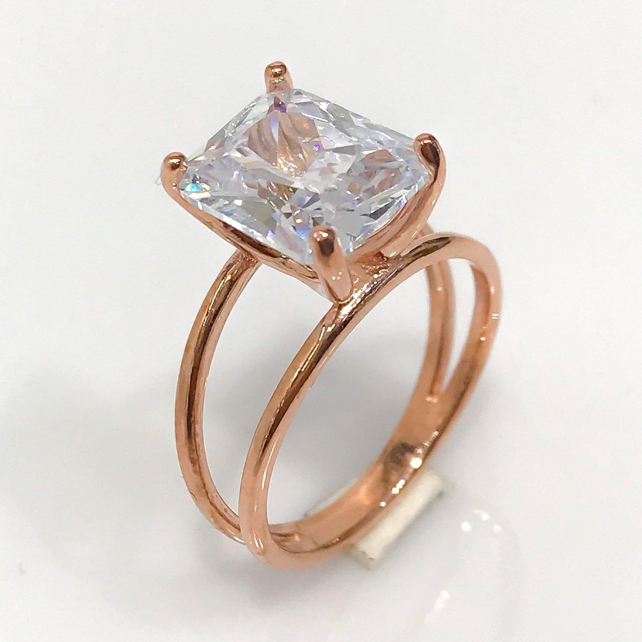 Baguette Crystal Diamond Montür Silver Ring()