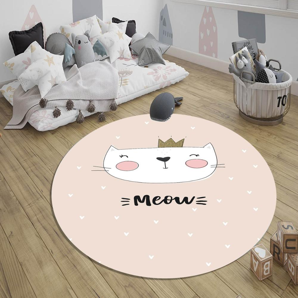 Else Pink Princess Cat 3d Pattern Print Anti Slip Back Round Carpets Area Rug For Kids Baby Children Room