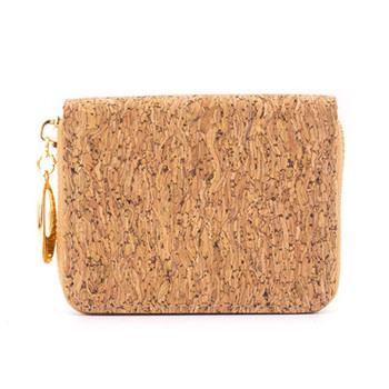 Natural cork zipper card small women wallet  BAGD-024 8