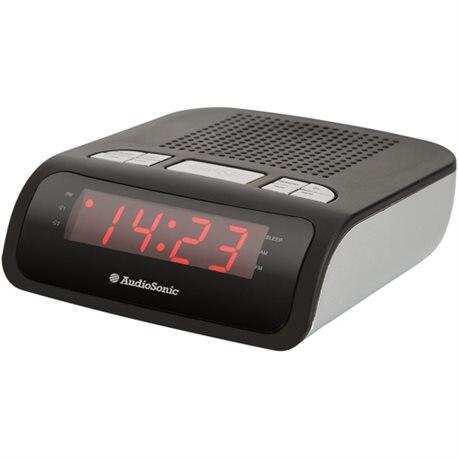 PORTABLE RADIO ALARM CLOCK AUDIOSONIC DUAL ALARM AM/F