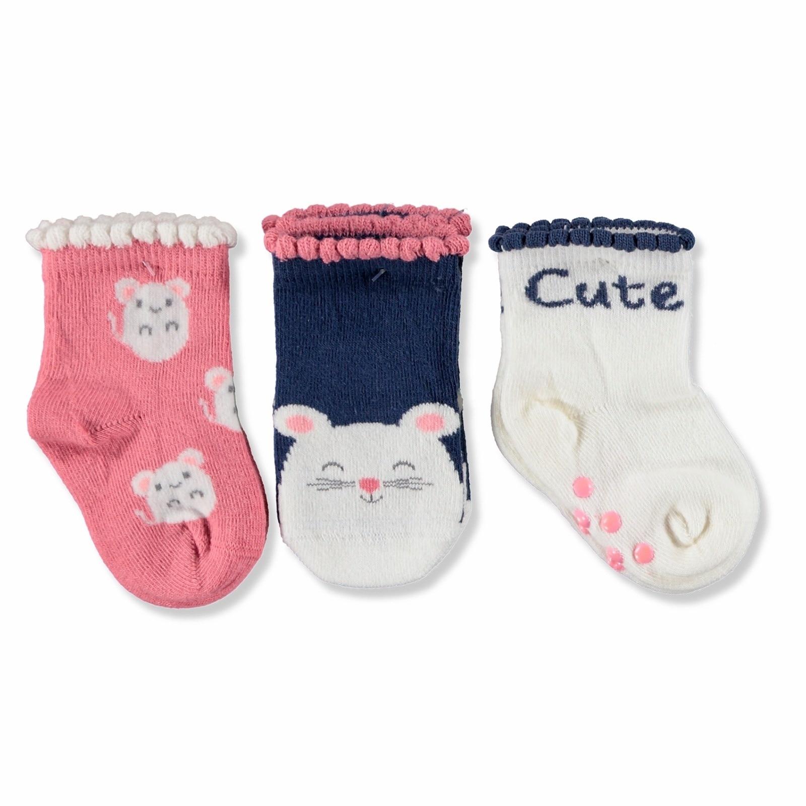 Ebebek Step 3 Pack Baby Socks Six Printed Cute Mouse