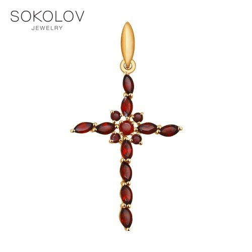 Cross SOKOLOV Gold With Garnet Fashion Jewelry 585 Women's Male