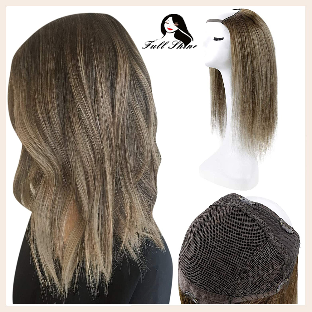 Full Shine Half Wig Clip in One Piece  U Part Wig Extensions Ombre Color 100% Machine Remy Hair Straight Human Hair Extensions