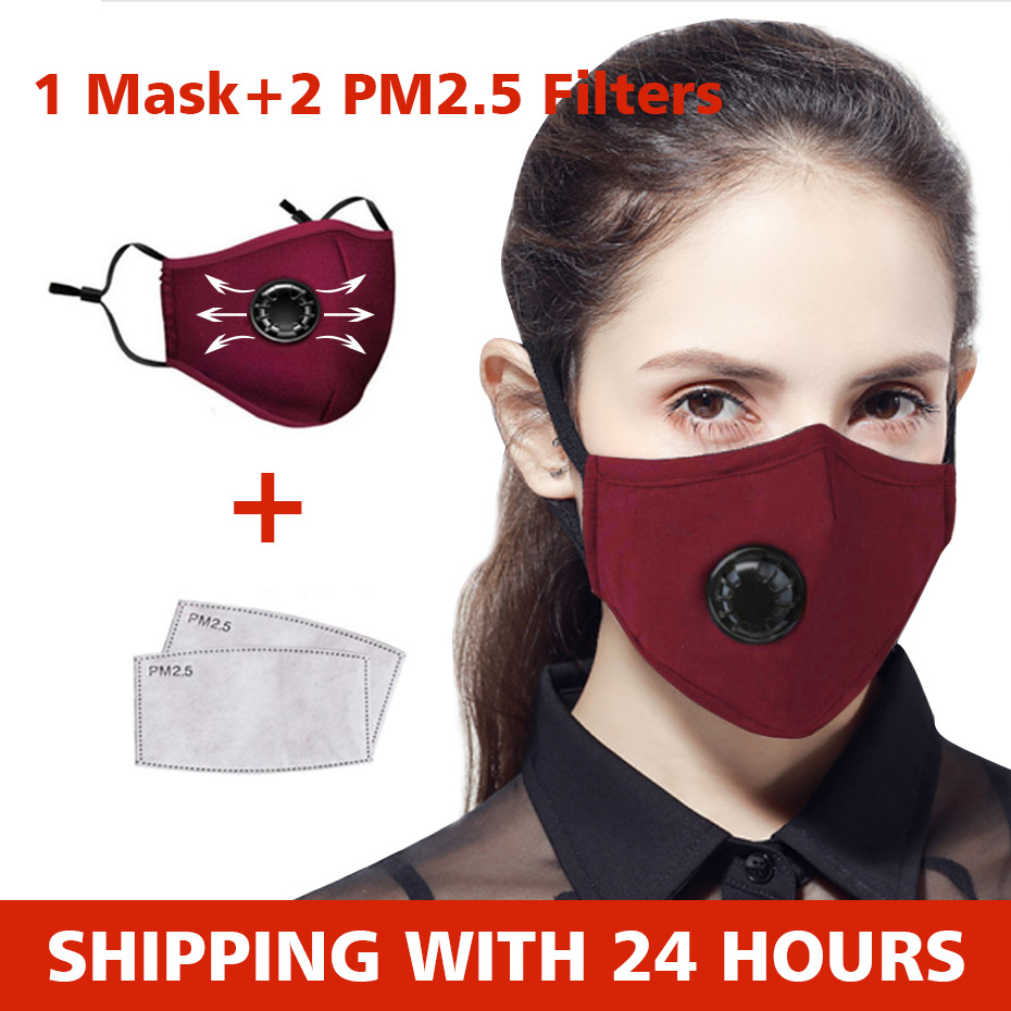 Mouch Face Mask Reusable Washable Activated Carbon Respirator Anti Dust With 2 Filters Pm 2.5 95% Filterability Breathing Masks