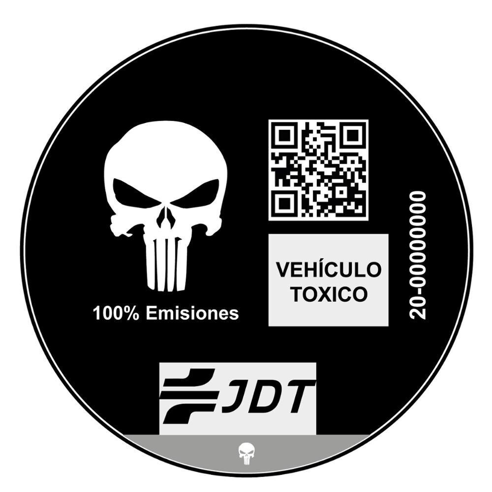 Vinilo Adhesivo Pegatina Sticker Distintivo Ambiental Coche Vehiculo Toxico Jdt