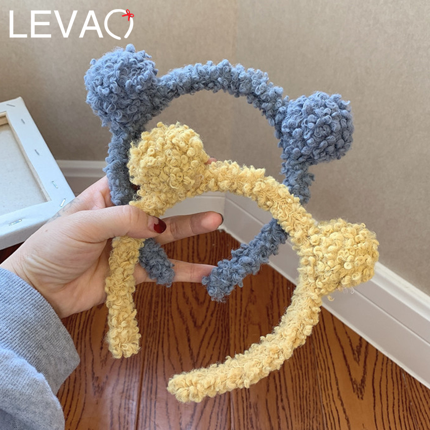 Levao Winter Plush Double Ball Headband Wool Hair Band For Girls Cute Hair Accessories Solid Color Head Bezel Head Hoop