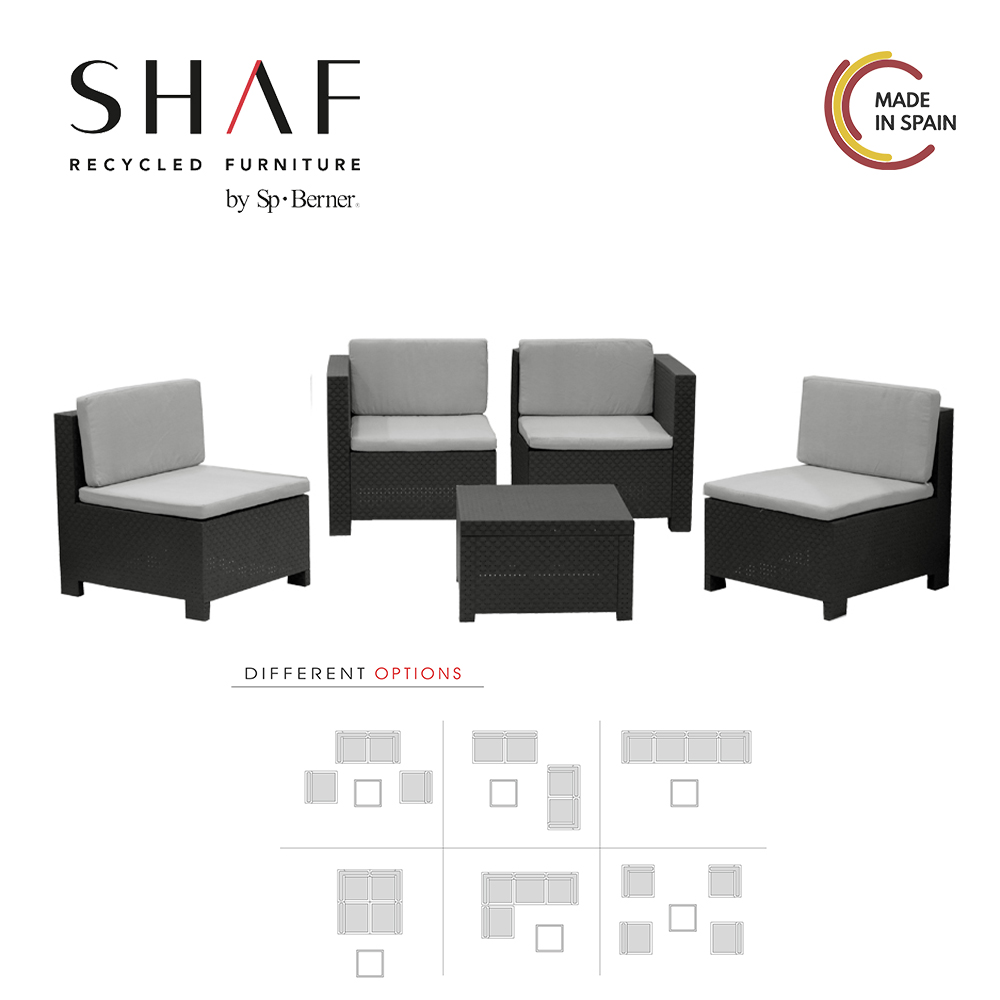 SHAF - SET VERONA Modulable In Colore Antracite-ideal For Any Terrace Or Spaciousness Conjunto De Jardin De Foreign