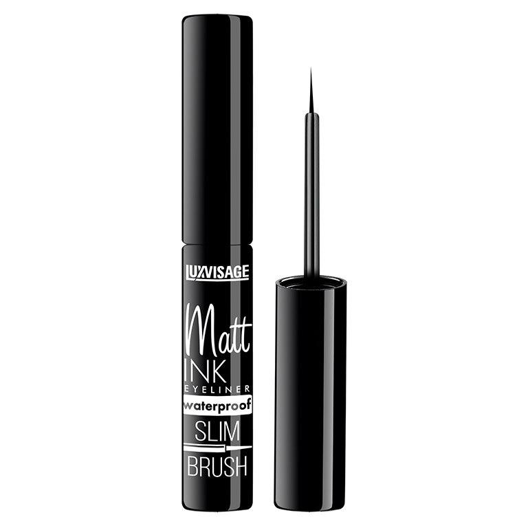 Eyeliner Luxvisage Matt Ink Waterproof, Black Black Long Lasting Eye Liner Pencil Waterproof Eyeliner Smudge-Proof Cosmetic Beauty Makeup Liquid