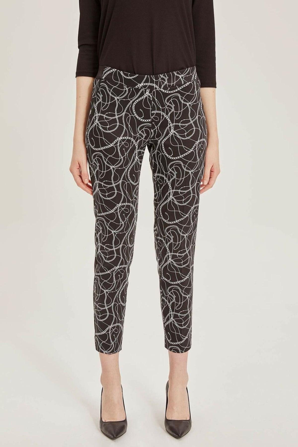 DeFacto Woman Spring Chain Prints Dark Long Pants Women Ninth Pants Female Pencil Pant Bottoms Trousers-K8594AZ19SP