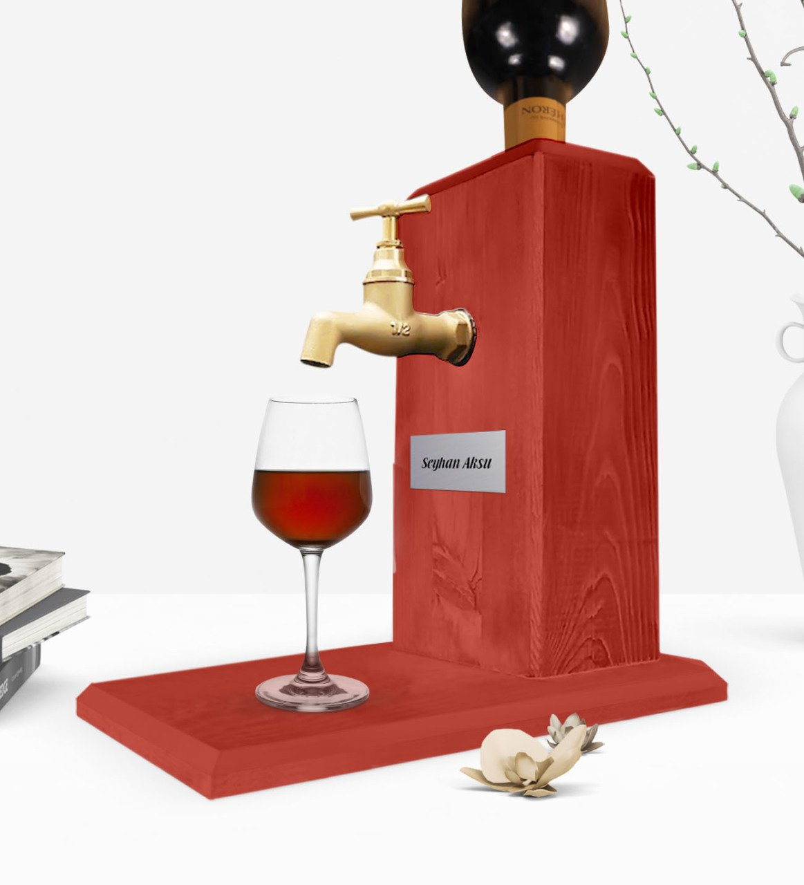 Personalized Tap Natural Wood Wine Stand-Red