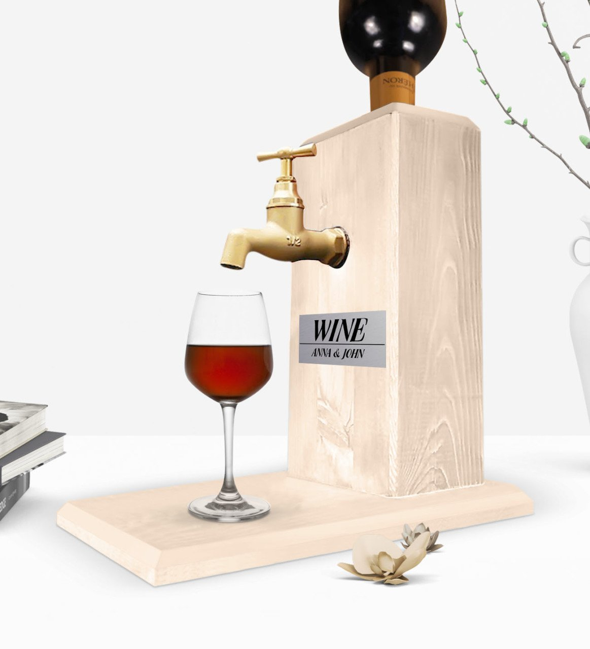 Custom Wooden Natural Wine Stand With Tap-Wood