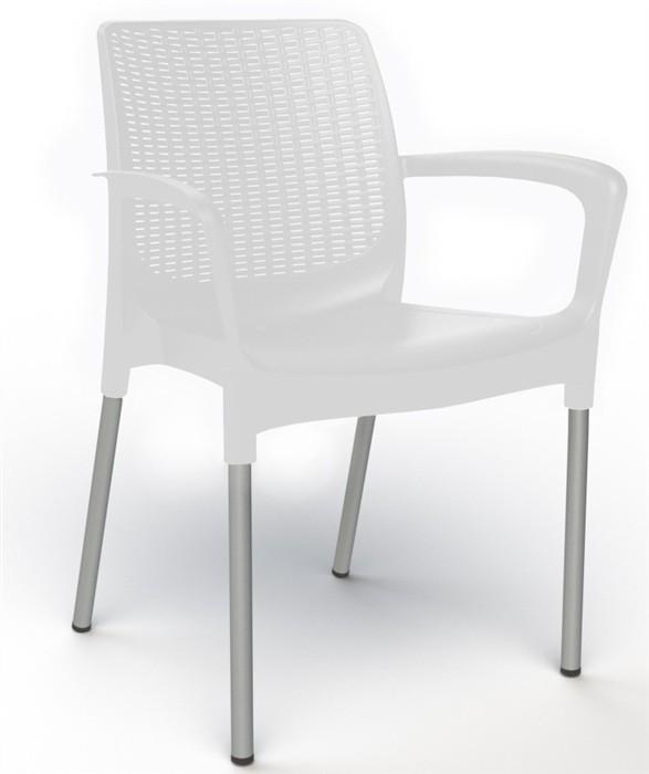 Armchair ALEXANDRA, Aluminum, Polypropylene White *