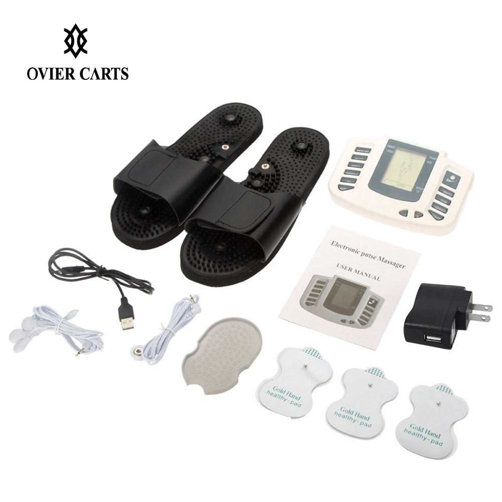 Electrical Muscle Stimulator Tens Ems Massager Russian/English Button Physiotherapy Equipment Therapy Massager+Slippers+4Pcs Pad