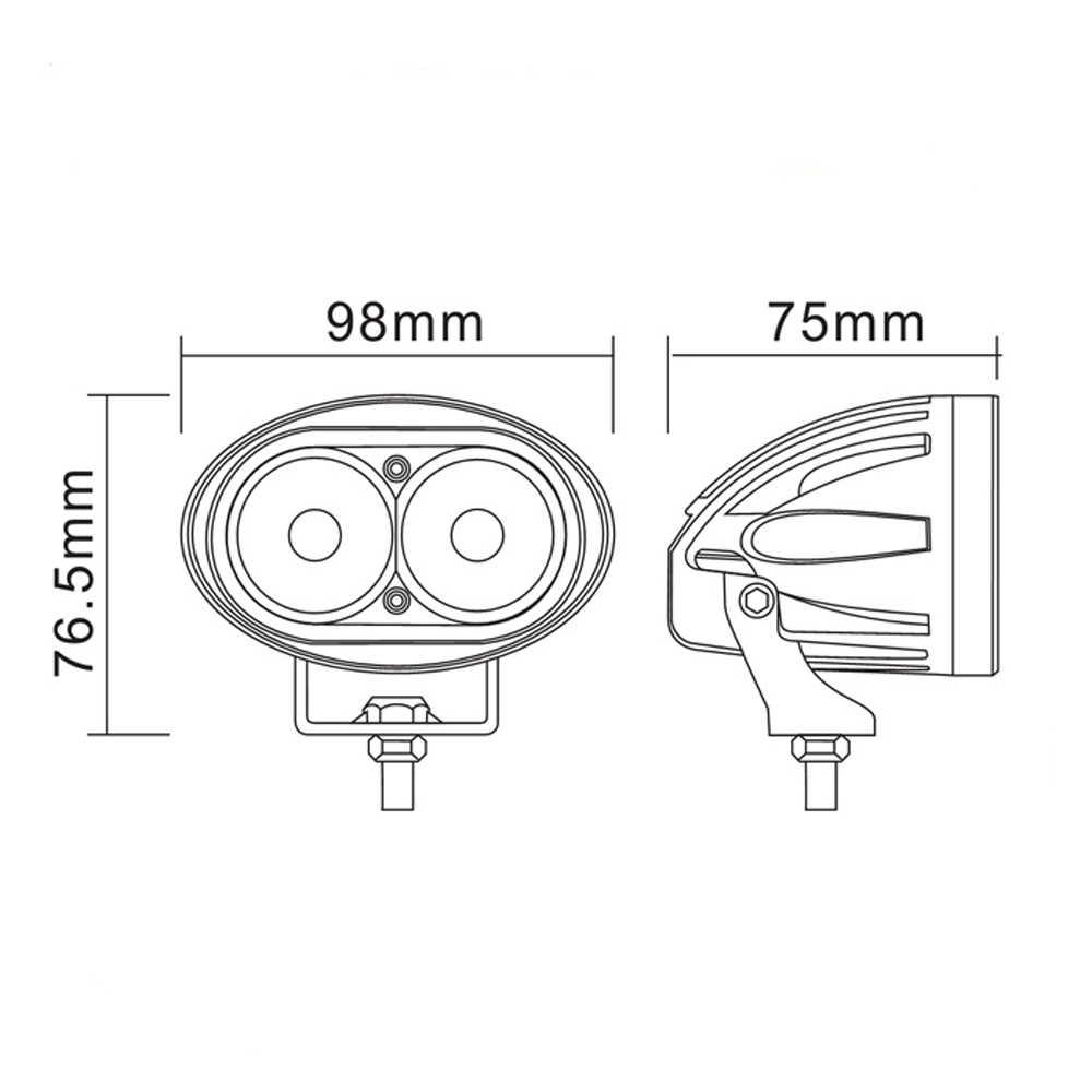 レンズパワー led 投光器スポットライトランプ 9/60 v 正方形の白色光