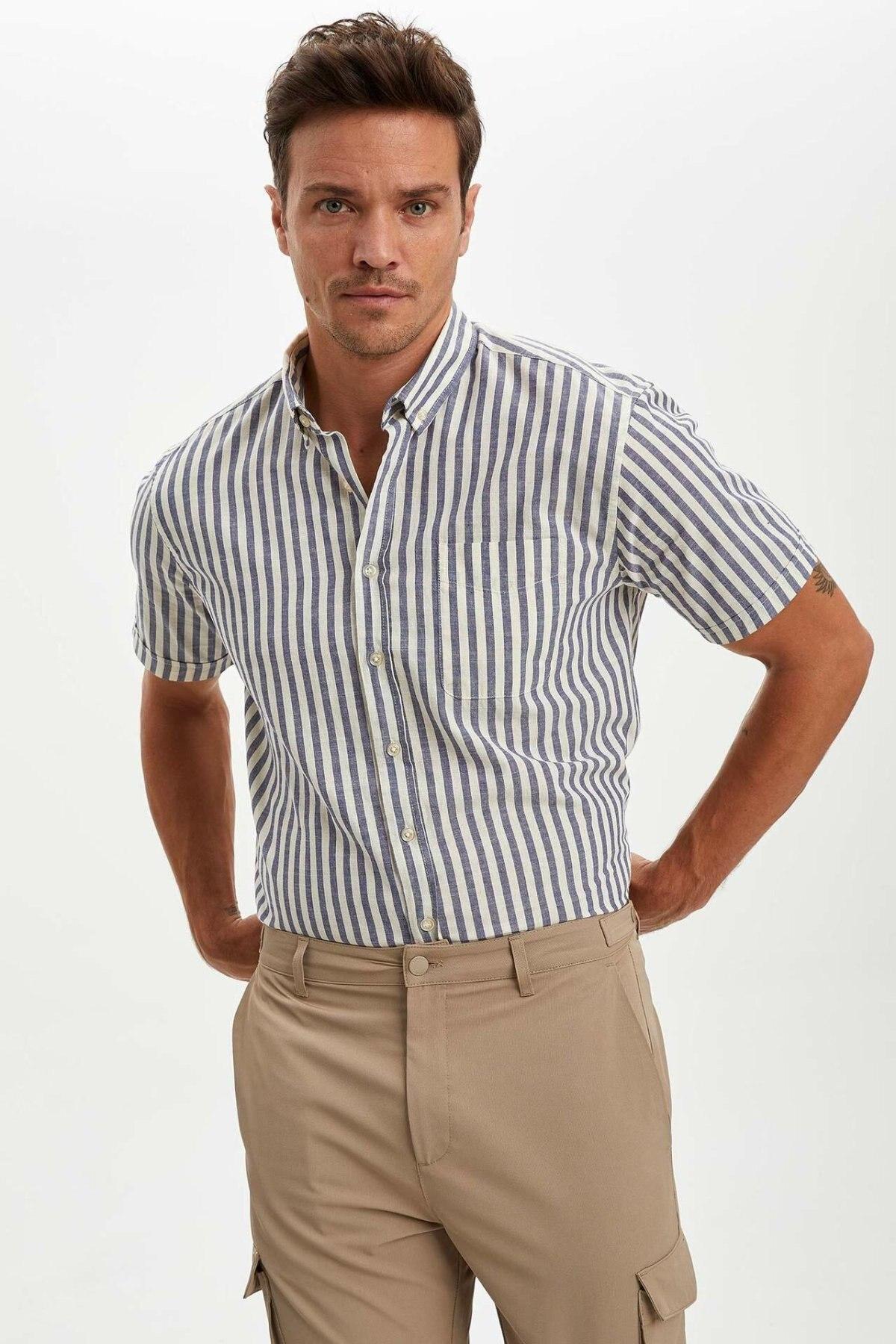 DeFacto Man Short Sleeve Shirt Men's Casual Shirts Men's Black Striped Shirts Men's White Top Shirts-N6368AZ20SM