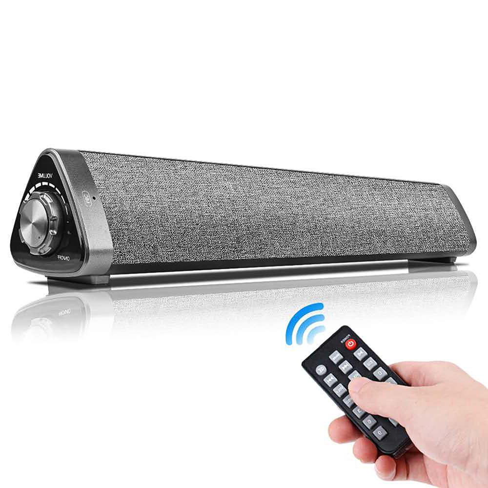 Gray LP-1811 Sound Blaster Bluetooth 5.0 Speaker Remote Control Speaker Strip Computer Sound 10W Speaker Bar With Remote Control
