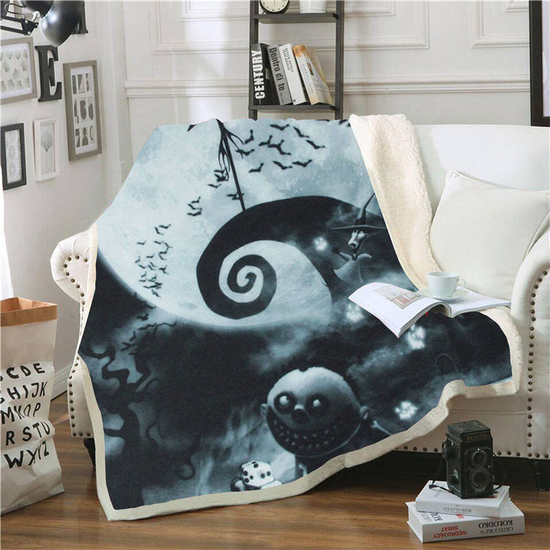 Jack-Skellington-Print-Sherpa-Blanket-Couch-Sofa-Travel-Youth-Bedding-Fleece-Thick-Blanket-Bedspread-Home-Decoration