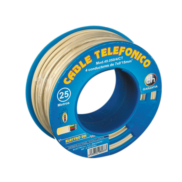 Telephone Cord Flat Hose Pipe Reel 100 Electro DH 49.050/4/M, Color Small Ivory, 8430552031993
