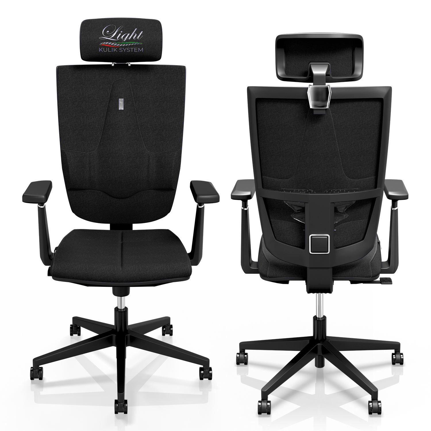 Office Chair KULIK SYSTEM SPACE Extra Black Computer Chair Relief And Comfort For The Back 5 Zones Control Spine