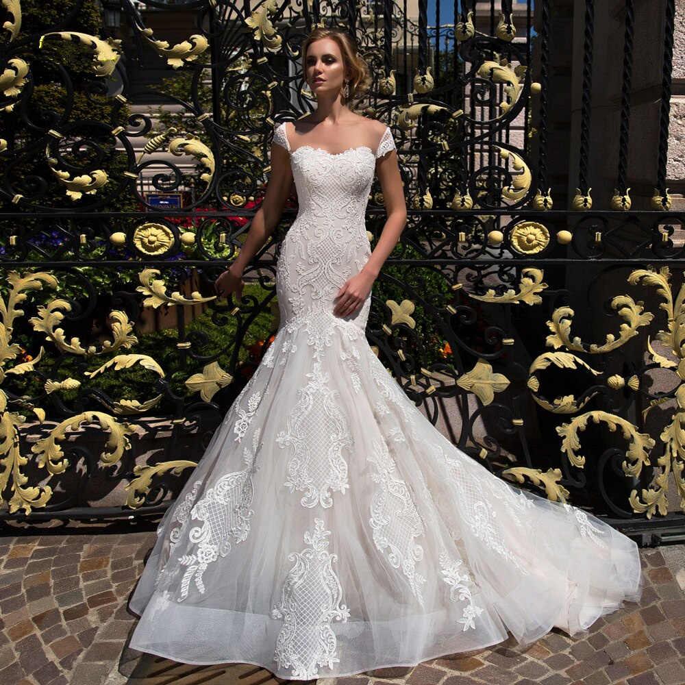 אופנה חדשה בת ים שמלות כלה 2019 כבוי כתף אורך רצפת חתונה כפתור חזרה Applique סטרפלס כלה שמלה