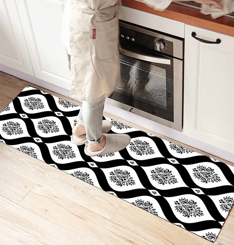 Else Black White Damask Vintage 3d Print Non Slip Microfiber Kitchen Counter Modern Decorative Washable Area Rug Mat