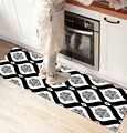 Más negro blanco Damasco Vintage 3d impresión antideslizante microfibra cocina mostrador moderno decorativo alfombra lavable de área estera