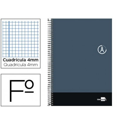 SPIRAL NOTEBOOK LEADERPAPER FOLIO DISCOVER SOFTCOVER 80H 80GSM FRAME 4MM MARGIN GRAY COLOR 5 Pcs