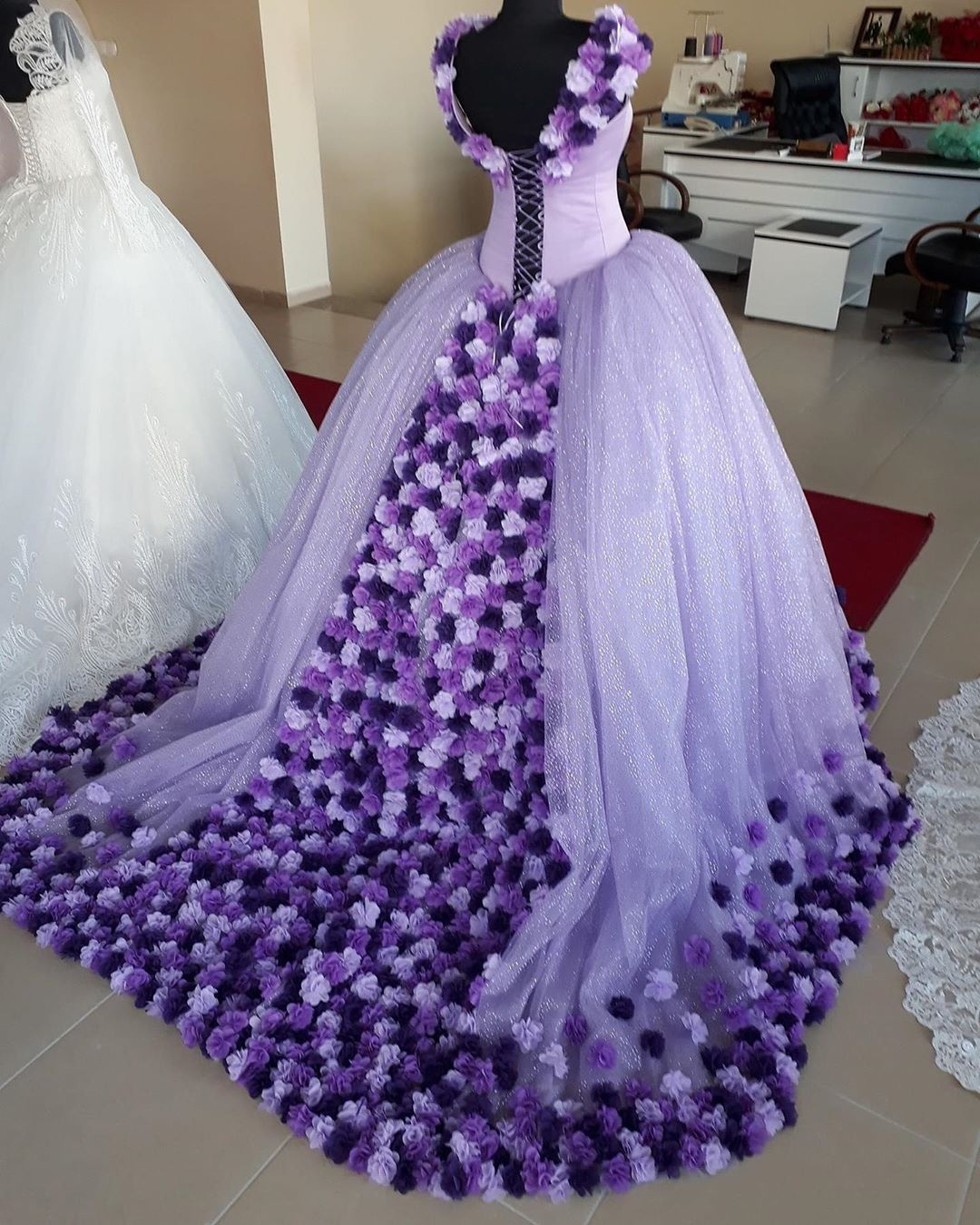 Lavender Puffy Ball Gown Flowers Quinceanera Dress Sexy Open Back